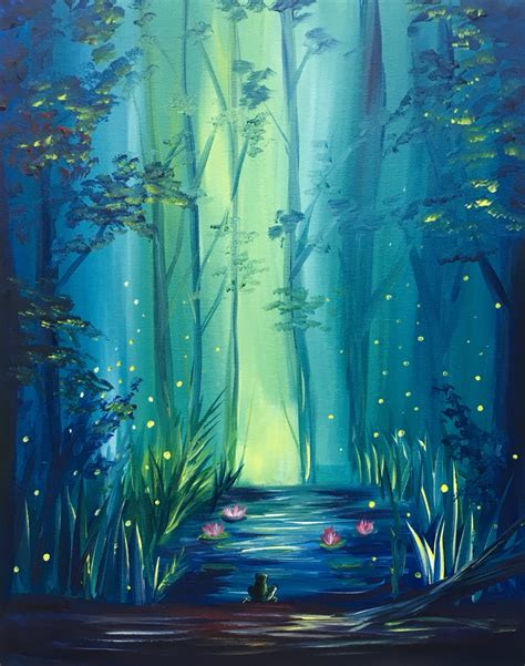 paint nite unicorn glowing forest paint nite paintings paid