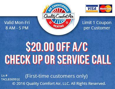 quality comfort air ac check up free estimate coupons quality comfort air