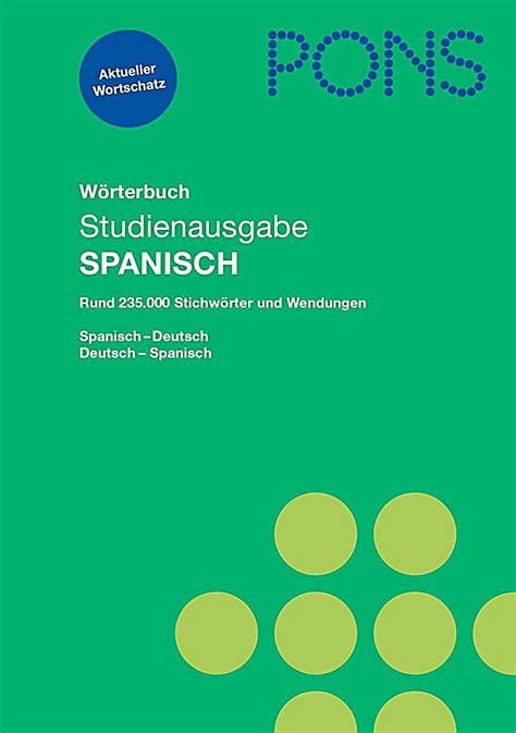 pons w 246 rterbuch studienausgabe spanisch buch portofrei bestellen
