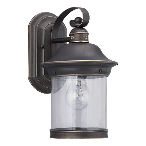 Seagull Outdoor Lighting Shop Sea Gull Lighting Hermitage 13 5 In H Antique Bronze Outdoor Wall Light At Lowes