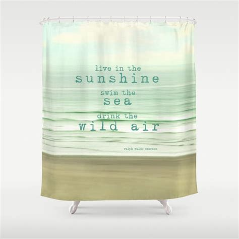 quote shower curtains items similar to ocean shower curtain typography quote
