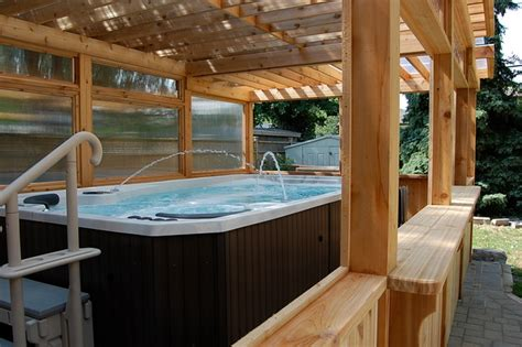 enclosed cedar pergola for outdoor swim spa traditional
