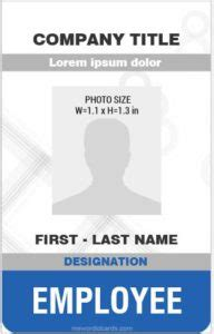 Microsoft Word Id Card Templates Employee Id Card Template Microsoft Word