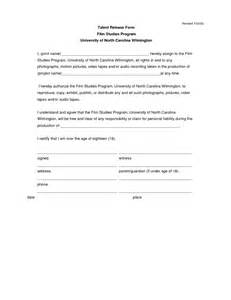 talent release form template best photos of release form template actor release