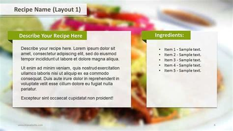 recipe layouts ppt template slide ocean