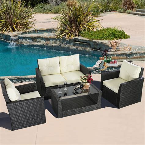 Convenience Boutique Outdoor Wicker Rattan Furniture Patio 4 Wicker Patio Furniture