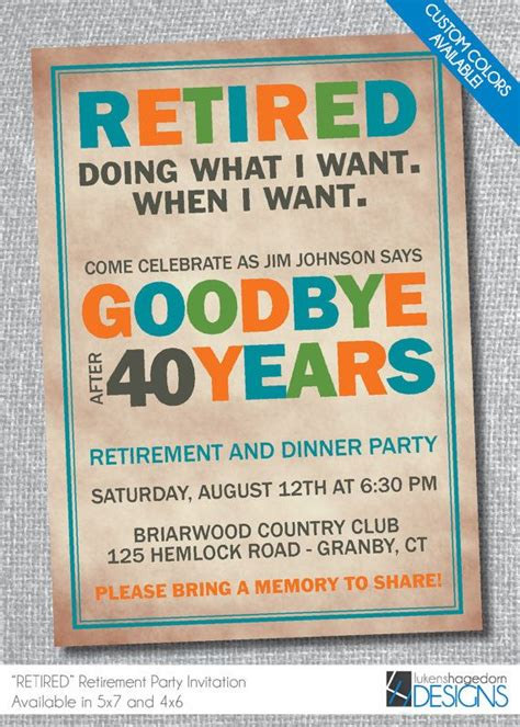 formal retirement party invitation announcement and invitation