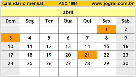 Calendario A O 1994 Calend 225 Mensal Abril De 1994 Imprimir M 234 S De Abril 1994