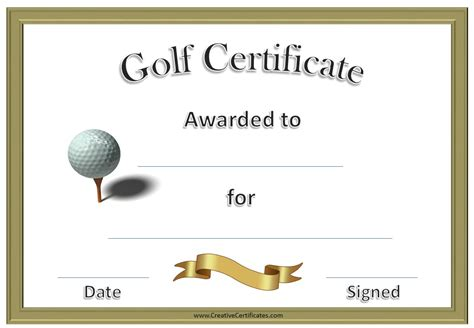 28 golf certificate template free golf awards golf
