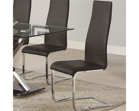 Modern Leather Dining Chair Coaster Modern Black Faux Leather Dining Chair Co 100515blk Set Of 4