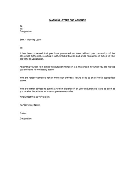 awol termination letter sle uk absence without intimation warning letter format hashdoc
