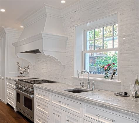 Kitchen Tile Backsplash Ideas With White Cabinets by White Stone Backsplash Transitional Kitchen Other
