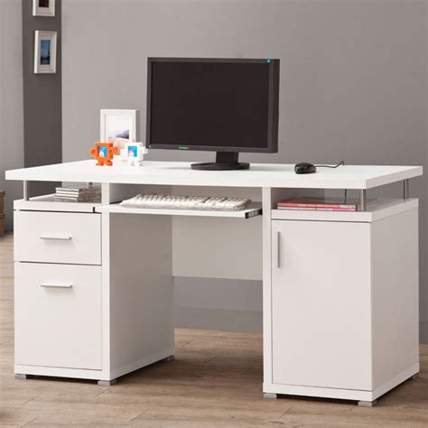 Houzz Office Desk Computer Desk White Contemporary Desks And Hutches By Modern Furniture Warehouse