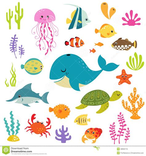 cute elements design vector set cute underwater world stock vector image 48920710