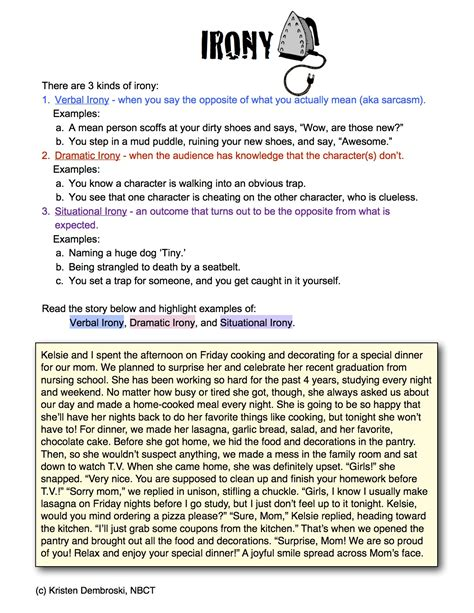 Irony Worksheets by Irony Worksheet For High School Free Worksheets Library