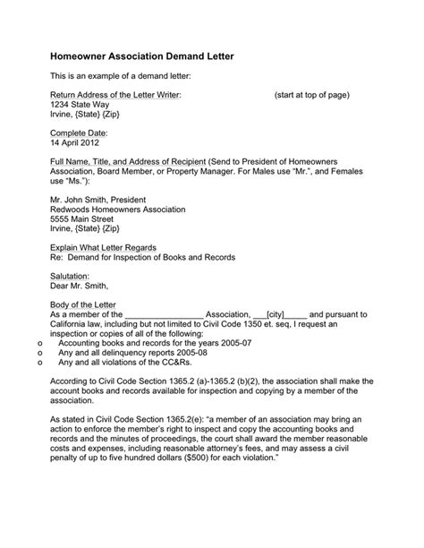 Society Template Letter Of Homeowner Association Demand Letter Sle In Word And Pdf Formats