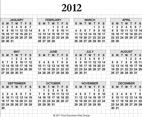 printable yearly calendar for 2012 2012 calendar yearly calendar template