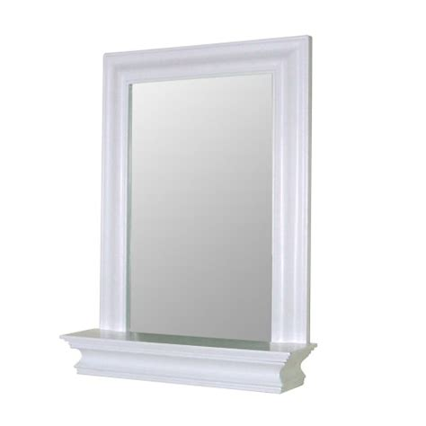 White Bathroom Mirror With Shelf New Wall Framed Bathroom Bedroom White Wood Mirror W Edge Shelf