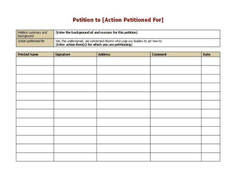 template for petition signatures petition form sle petition template office