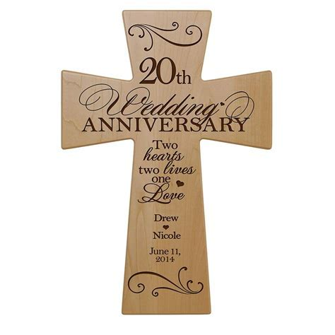 Personalized 20th Wedding Anniversary Maple Wood Wall