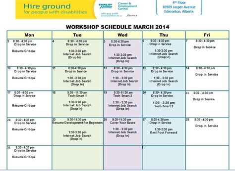 Job Resume Set Up by March Job Skills Training Workshop Schedule Employabilities