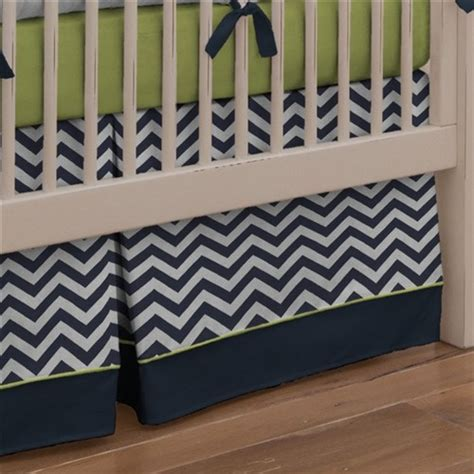 Box Pleat Crib Skirt by Navy And Citron Zig Zag Crib Skirt Box Pleat With 4 Inch