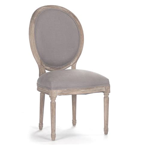 Pair Madeleine French Country Oval Grey Linen Dining Side Pair Of Dining Chairs