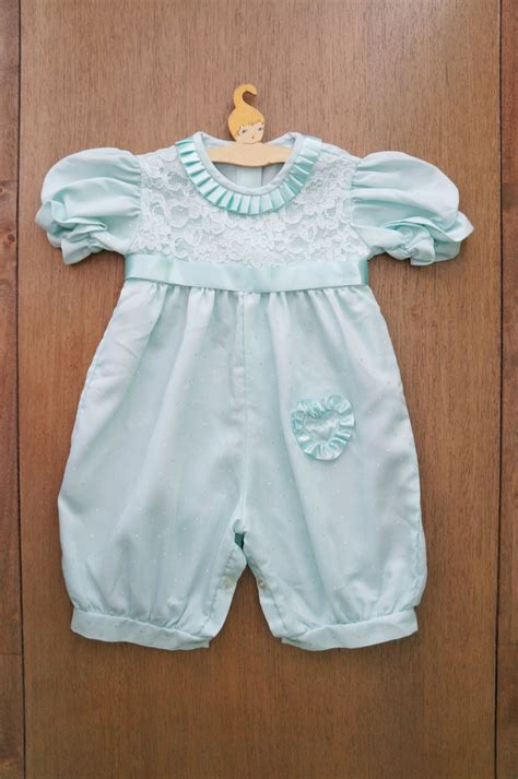 vintage baby clothes baby mint lace romper with