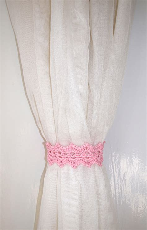 pink curtain tie backs pink curtain holdback crochet curtain tie backs rose curtain