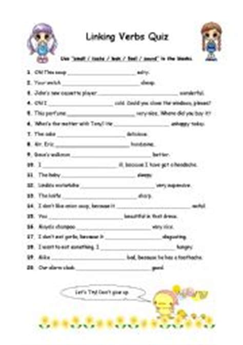 verb pattern contribute english worksheets linking verbs worksheets page 3