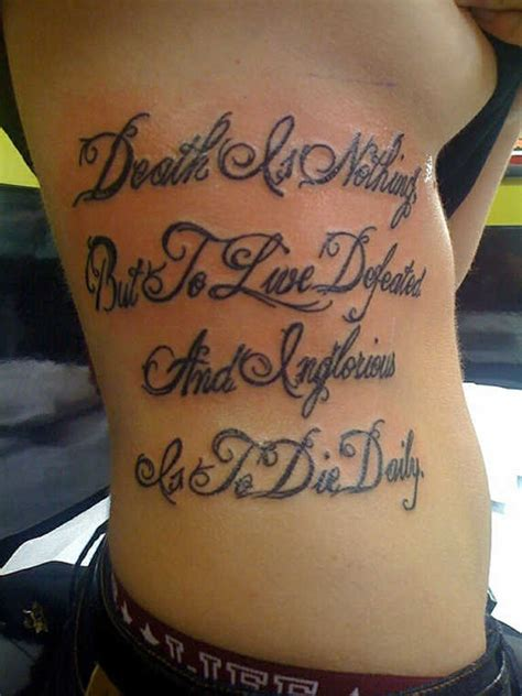 20 engaging rib script tattoos rib quote rib lettering