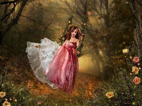 painting of woman on swing girl on swing art fantasy flowers forest girl red