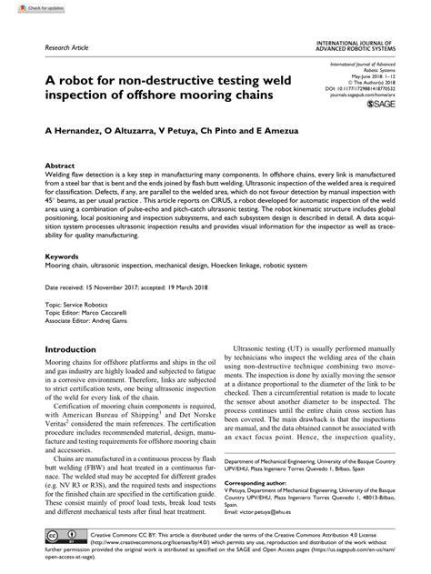 (PDF) A robot for non-destructive testing weld inspection