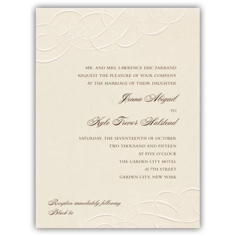Wedding Invitations Embossed Border by Embossed Flourish Border Pearlized Wedding Invitations