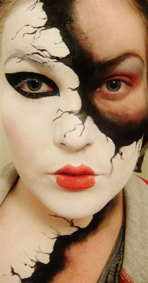 Makeup Faced faded mask cool creepy mysterious pretty paint doll mask costume makeup