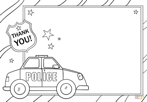 Thank You Coloring Page For Police Officer | thank you police coloring page free printable coloring pages