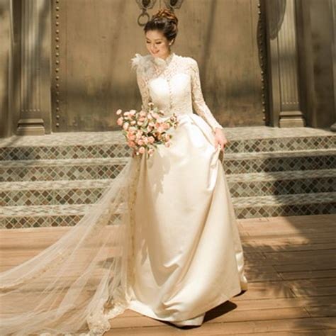 antique wedding gown preservation turtleneck long sleeve lace wedding dress the royal bride