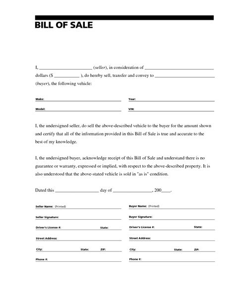 template for a car free printable free car bill of sale template form generic