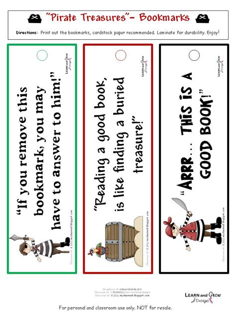 printable educational bookmarks learn and grow designs website pirate treasures free