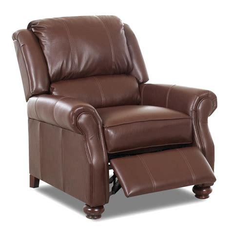 high leg recliner klaussner high leg recliners l53608 hlrc high leg