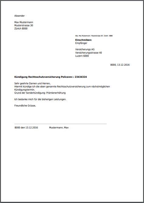 Brief Innerhalb Schweiz k 252 ndigung f 252 r rechtsschutzversicherung kostenlos als pdf
