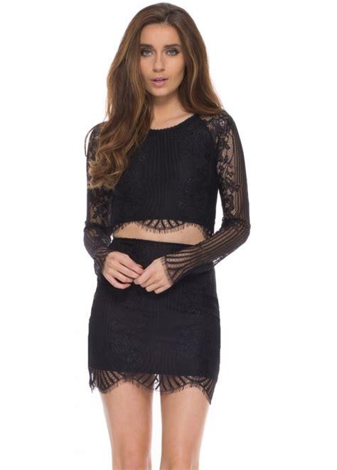 Black Lace Set Crop Topskirts 9045 for lemons skirt top buy for lemons