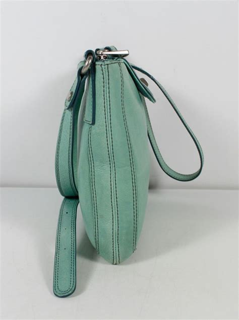 Longstrap Fossil Authentic fossil solid turquoise silver bag shoulder bag purse ebay