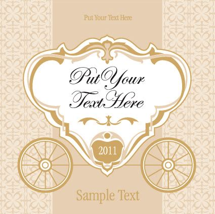 wedding invitation card design vector free download wedding invitation with carriage design vector free vector
