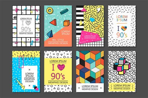 Cards Posters Memphis Design 80 90s Poster Template 90 X 120cm