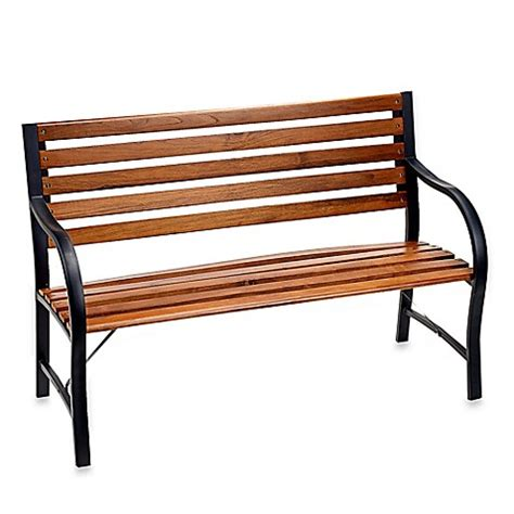 wood and metal bench wood and metal garden bench bed bath beyond