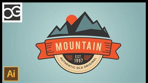 tutorial illustrator badge how to make a mountain vintage badge illustrator