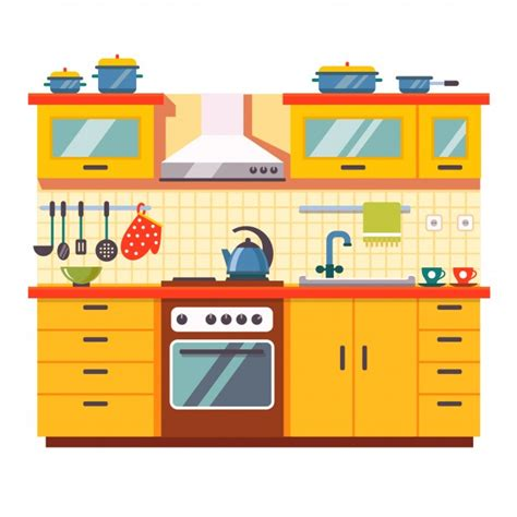 Great Kitchen Designs by Kitchen Wall Interior Vector Free Download