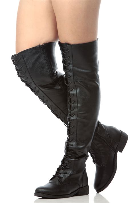 black faux leather thigh high lace up combat boots