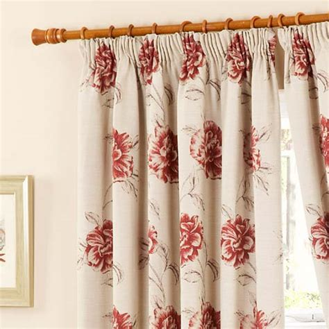 red pencil pleat curtains cotswold floral tapestry pencil pleat lined curtains red